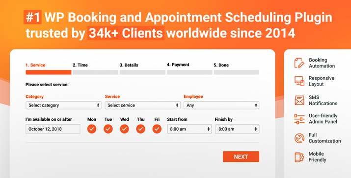 Bookly PRO 3.4 WordPress– Appointment Booking and Scheduling Software